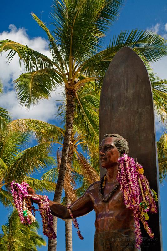 Photo: Flower Leis on statue of Duke Kahanamoku statue, Kuhio Beach Park, Waikiki Beach, Honolulu, Oahu, Hawaii