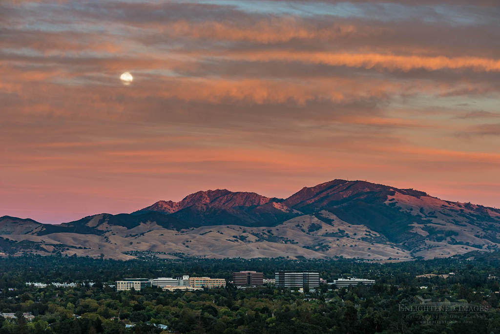 Photo: Moonrise and clouds at sunset over Mount Diablo, Contra Costa County, California