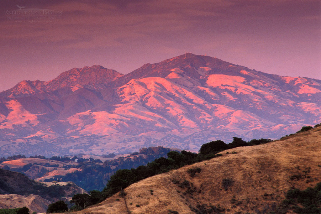 Photo: Sunset light on Mount Diablo in summer, from the East Bay hills, Contra Costa, California
