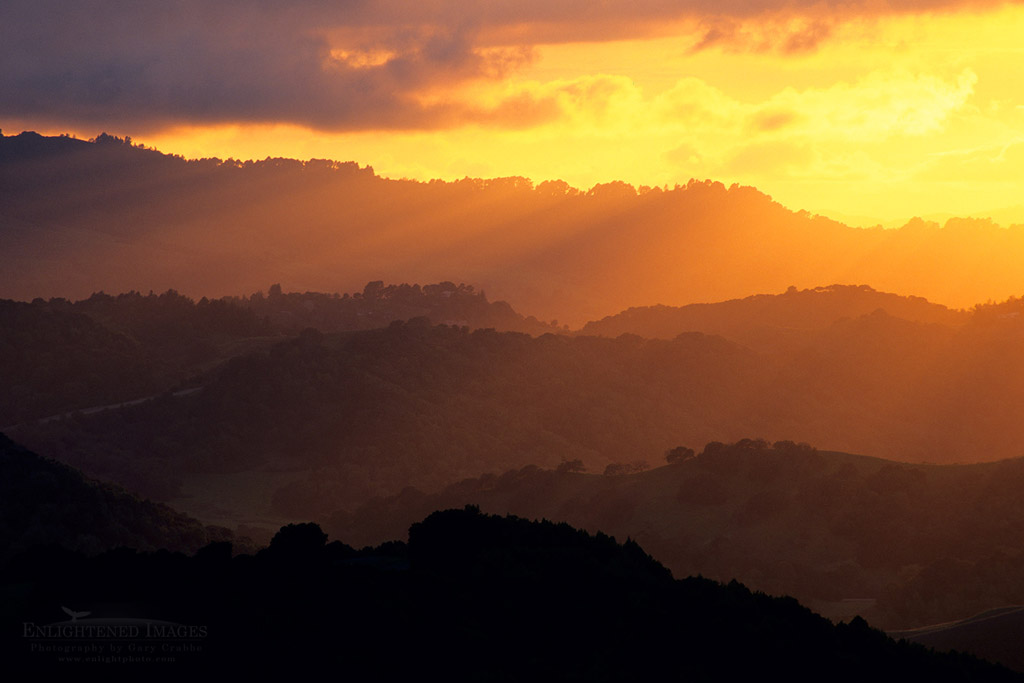 Photo: Sunset over the rolling East Bay hills in spring, Briones Regional Park, Contra Costa County, California