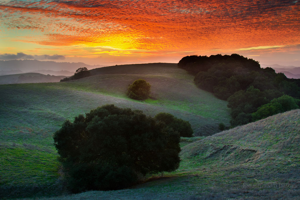 Photo: Sunset light on clouds over hills in Briones Regional Park, Contra Costa County, California