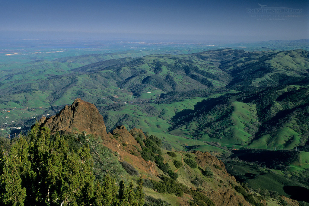 Photo: View looking SE from atop Mt. Diablo, Mount Diablo State Park, Contra Costa County, California