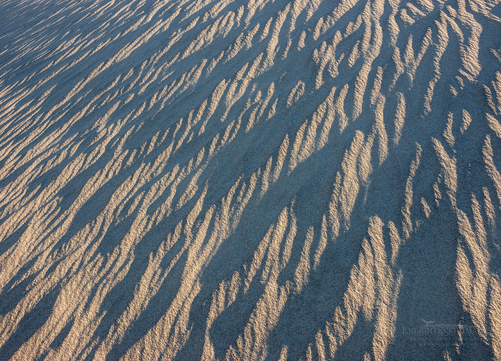 Photo: Windblown sand patterns in sand dunes at the Mesquite Dunes, near Stovepipe Wells, Death Valley National Park, California