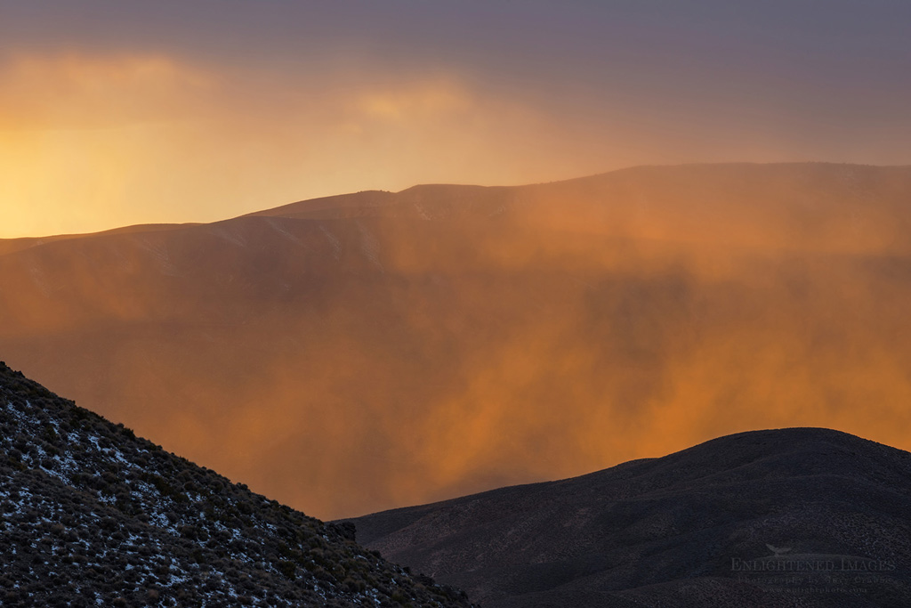 Photo: Sunset light on misty clouds at Aguereberry Point, Death Valley National Park, California
