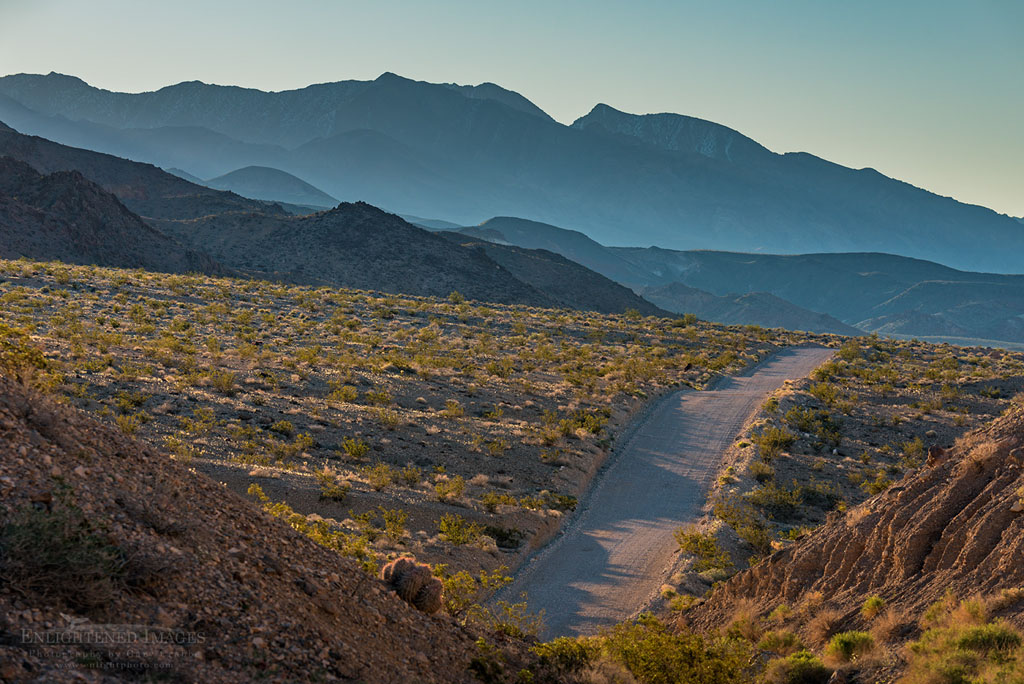 Photo: The long empty dirt road Death Valley Road  in the northern portion of Death Valley National Park, California