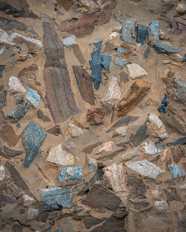 Photo: Mosaic Canyon Breccia - geology composed of tiny angular fragments of various types of rock locked in natural cement, Mosaic Canyon Death Valley National Park, California