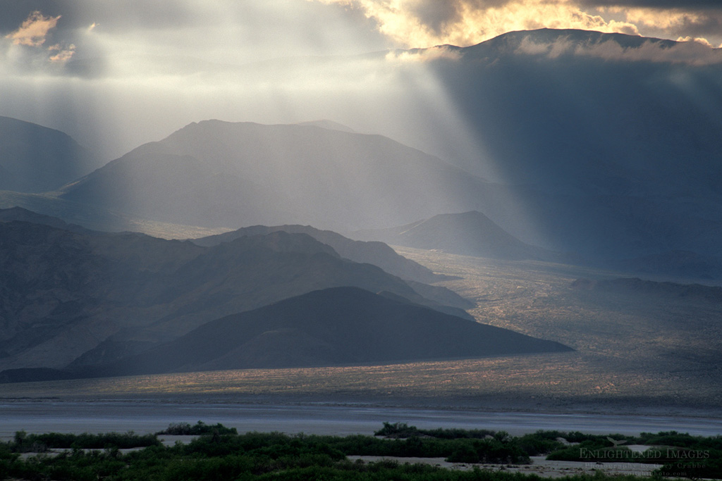 Photo: Sunlight and storm clouds on Panamint Mountains, Death Valley National Park, California