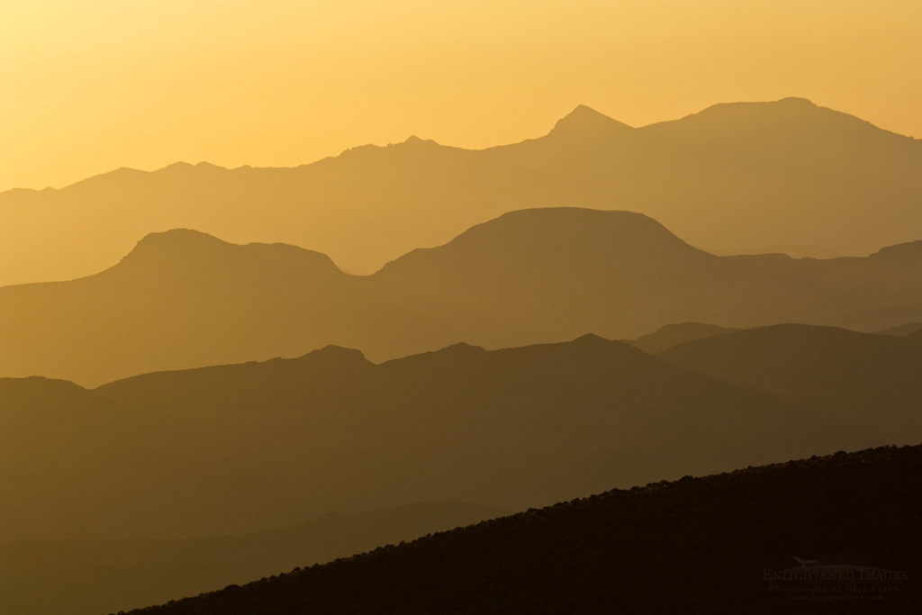Photo: Sunrise light behind mountain ridges, from Dantes View, Death Valley National Park, California