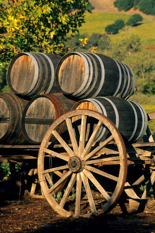 Photo: Wagon and Wine Barrels at sunset, Jepson Vineyards,near Ukiah, Mendocino County, California