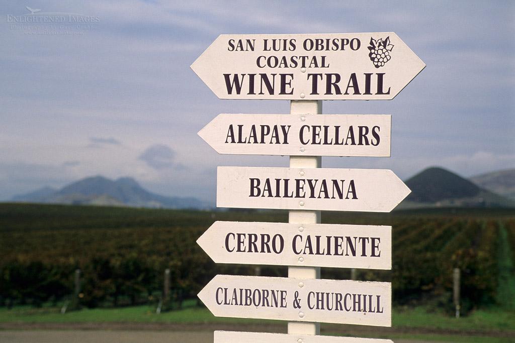 Photo: SLO Coastal Wine Trail Signs, Edna Valley, near San Luis Obispo, San Luis Obispo County, California