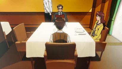 Koushiro makan bersama kedua orang tuanya di restoran Perancis