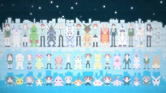 Digimon dan partnernya, dalam pixel art yang keren!