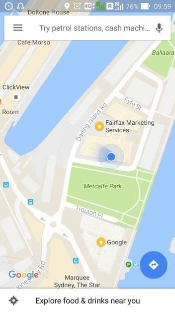 Google Maps location of Google Sydney
