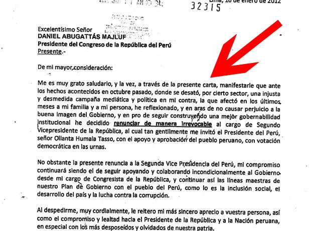 Carta de renuncia de Omar Chehade