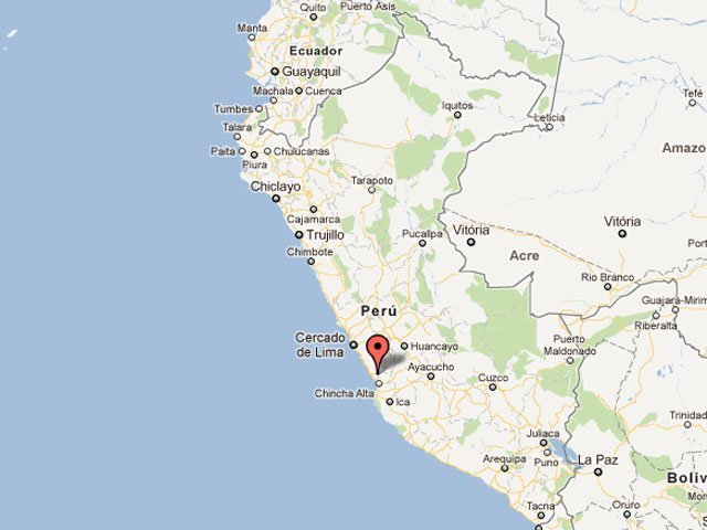 Mapa de sismo en Ica