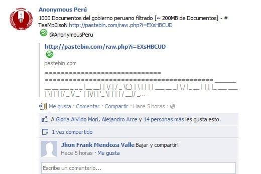 Cuenta Facebook de Anonymous