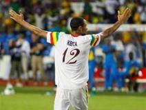 Keita celebra el penal decisivo. Mali ya esta en semifinales de la Copa Africana