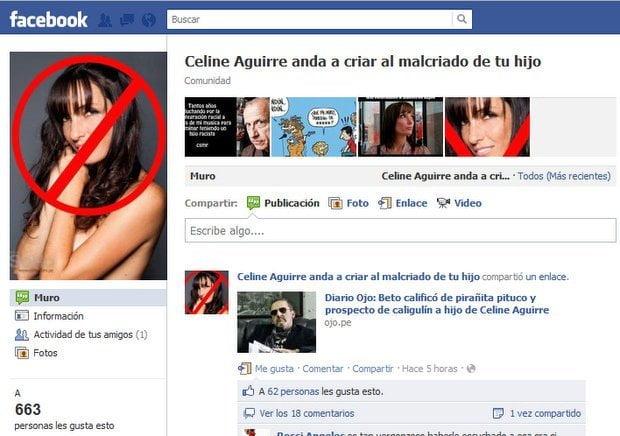 """Grupo en Facebook """"Celine Aguirre anda a criar al malcriado de tu hijo"""""""