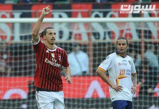 Ibrahimovic celebra el segundo gol del AC Milan sobre el Lecce