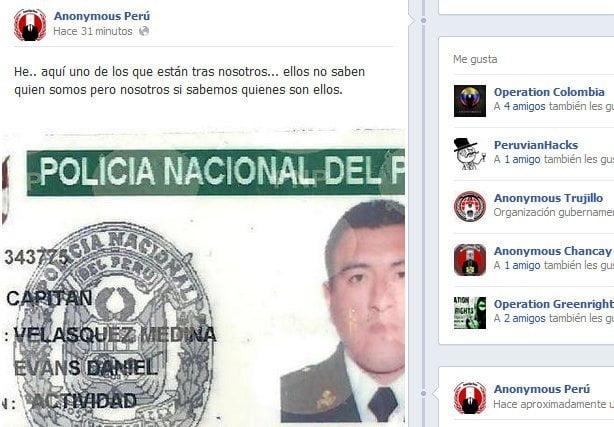 Captura de la cuenta Facebook de Anonymous