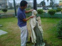 Imagen de la Virgen del Carmen destruida en Barranco (Foto: Municipalidad de Barranco)