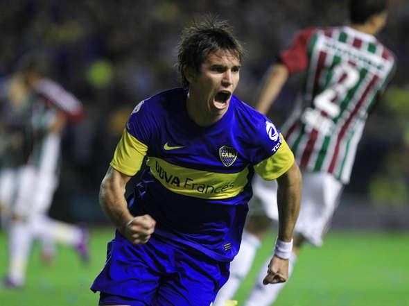 Mouche celebra el gol de Boca.