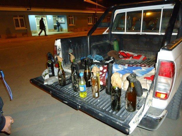Bombas molotov incautadas en vehículo de serenazgo de Espinar