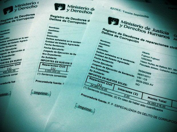 Documentos del Ministerio de Justicia sobre Fujimori