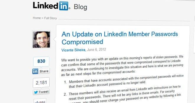 LinkedIn admite robo de información de usuarios
