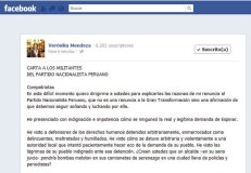 Mensaje en Facebook de Verónica Mendoza