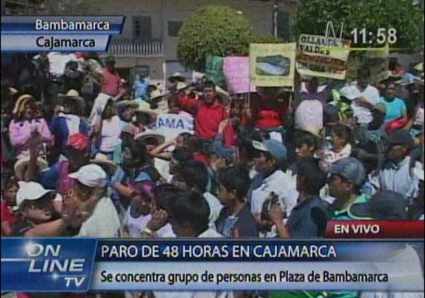 Protestas en Bambamarca (Captura Tv / Canal N)