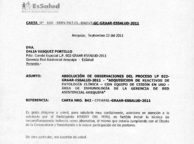 Oficio de EsSalud con opinión favorable a Krasny del Perú