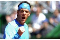 El primer tenista argentino, Juan Martín del Potro, celebra la victoria frente a Stepanek por la Copa Davis