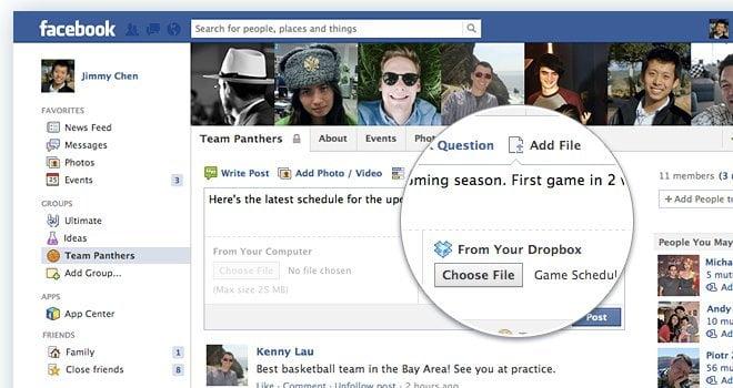 Dropbox en Facebook