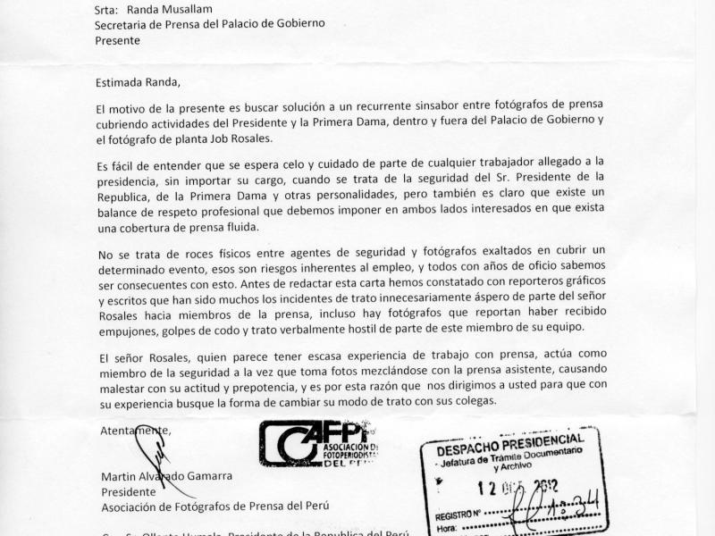 Carta de la Asociación de Foto-Periodistas del Perú