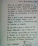 Carta de Alberto Fujimori