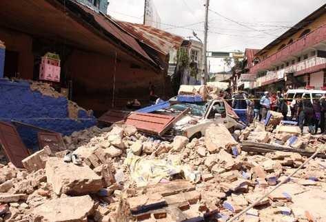 Daños causados por el sismo en San Pedro Sacatepéquez, San Marcosl. (Foto Prensa Libre: Aroldo Marroquín)