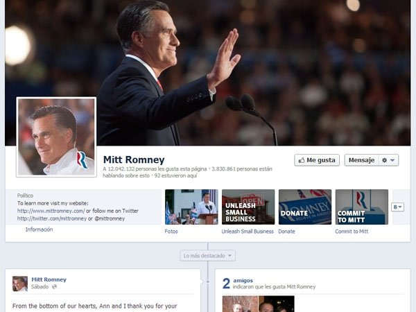 Cuenta Facebook de Mitt Romney