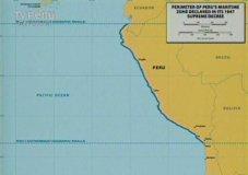 Mapa presentado por Chile donde prevalece línea paralela