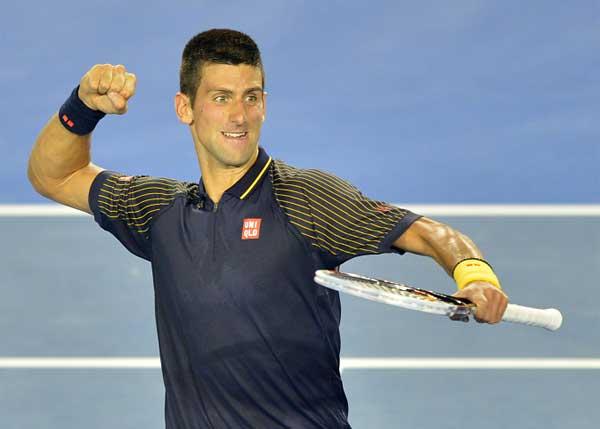 """Novak Djokovic jugó  un """"partido exhibición"""" antes de disputar su cuarta final del Abierto de Australia."""