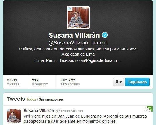 Twitter de Susana Villarán