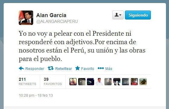Alan García se pronunció vía Twitter