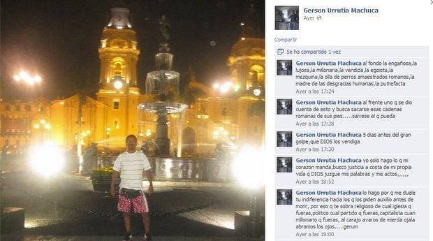 Lo que publicó Gerson Machuca Urrutia en Facebook