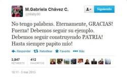 Tuit de María Gabriela Chávez