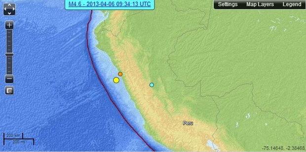 Tres sismos se registraron en el Perú (USGS)