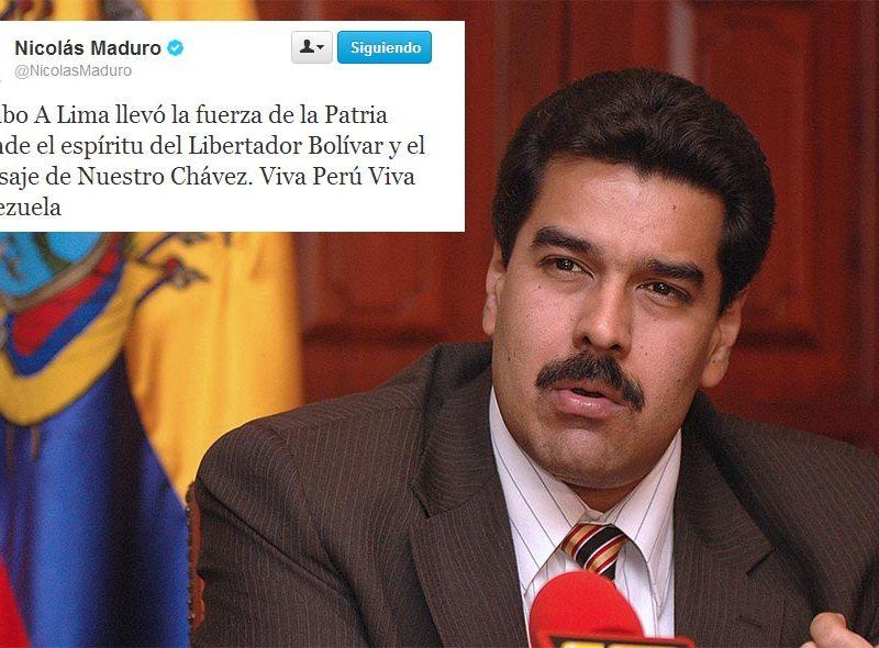 """Nicolás Maduro en Twitter: """"Rumbo a Lima, llevo el mensaje de Hugo Chávez"""""""