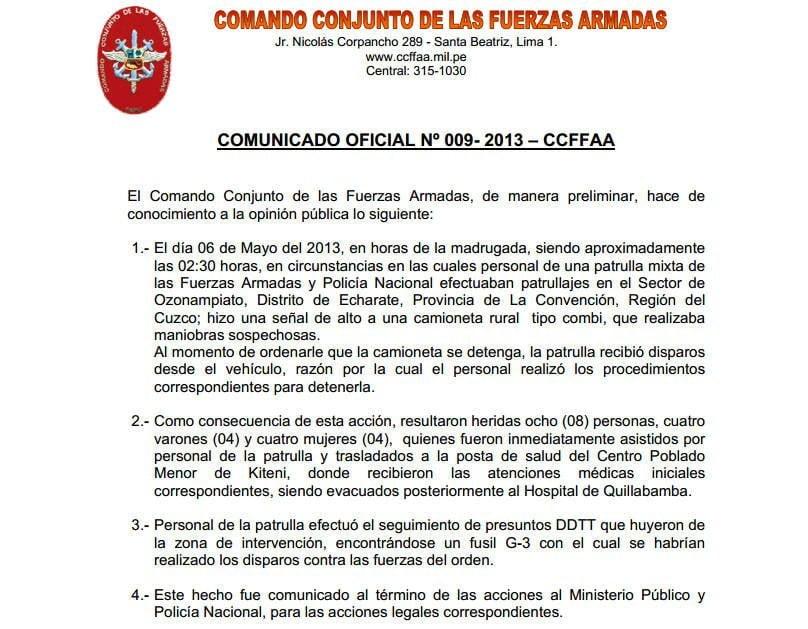 CCFFAA asegura que respondieron disparos de vehículo combi