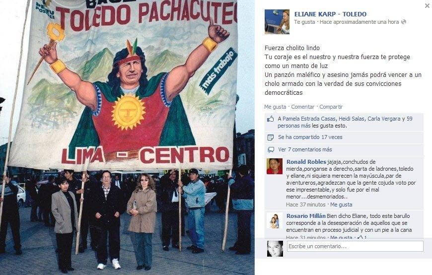 """Eliane Karp defiende a Toledo: """"Un panzón maléfico y asesino jamás te vencerá"""""""