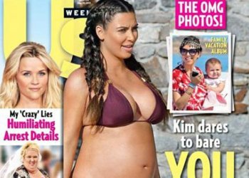 Kim Kardashian luce su embarazo en playas de Grecia