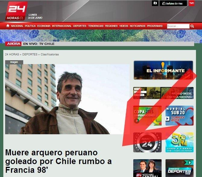 Canal chileno ironiza con la muerte de arquero Julio César Balerio